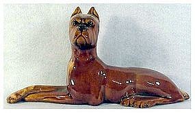 "Haeger 11"" Boxer figurine # 1396 Walnut color 1954"