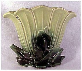 McCoy two tone chatreuse/green  small fan vase 10""