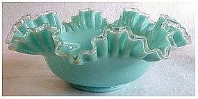 """Fenton 10"""" Silver turquoise bowl"""