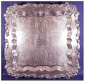 Vintage large square footed tray Sheridan Silver Plate