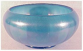 "Fenton 8"" celeste blue stretch glass cupped bowl 1920s"