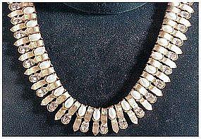 Trifari clear rhinestone faux pearl necklace