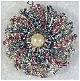 Hobe red & blue rhinestone pin with white pearl center