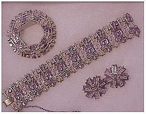 Coro Pegasus Lavender bracelet,pin & earrings