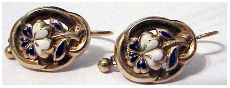 18K ca1840 white enamel yellow gold Victorian earrings