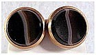 Victorian banded agate cuff buttons, cufflinks