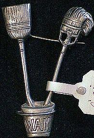 Cini sterling: WAM broom,bucket & mop pin