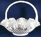 Fenton handmade hobnail milk glass basket