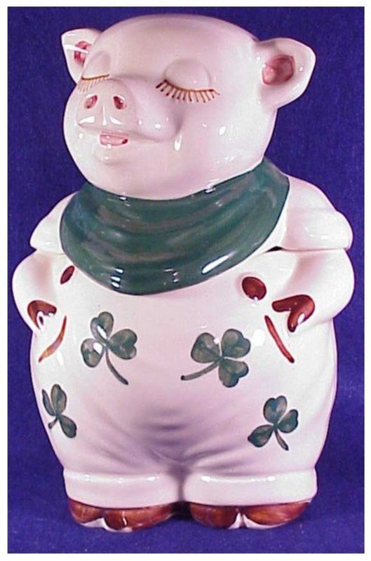 Shawnee Shamrock Smiley Pig cookie jar (USA-vintage)