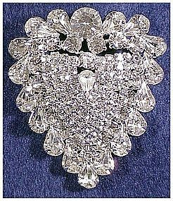 Eisenberg rhinestone heart pin- unsigned- very large