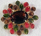 Domed rhinestone pin / brooch- orange,brown,green