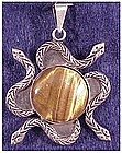 Mexican sterling tiger eye & serpent pendant-hallmarked