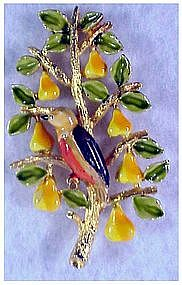 "Cadoro ""Patridge in a Pear Tree"" enameled pin / brooch"