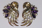 Trifari crown purple & clear rhinestone earrings