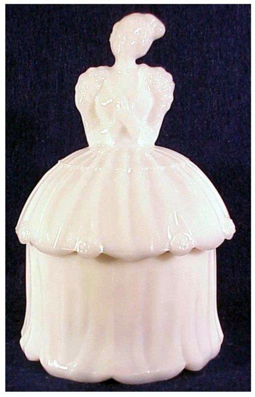 Akro Agate Lady milk glass powder jar