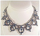 Kramer light blue rhinestone bib necklace- vintage
