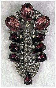 Staret Amethyst and Clear rhinestone dress fur clip