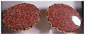 Goldstone cufflinks cuff links unmarked gold filled
