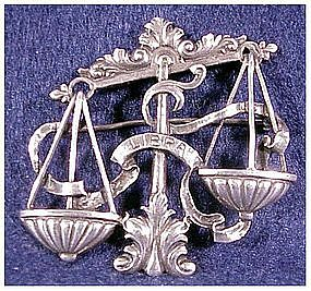 Cini sterling: Zodiac Libra pin -Sept 23 -Oct 23