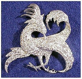 Boucher Exotic Gryphon bird brooch clear rhinestones