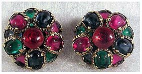 Trifari multicolor cabochon fruit drop cluster earrings