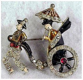 Rickshaw pot metal pin,enamel,moving wheels(DuJay?)1939