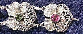 Hobe sterling bracelet ruby & peridot bezel set stones