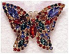 Weiss multi colored rhinestone butterfly pin / brooch
