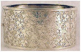 Victorian sterling hinged bangle hand engraved bracelet