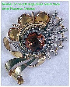 """Reinad Deco Gold pave & faux citrine swirl pin  3.5"""""""