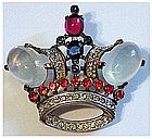 Trifari 'Alfred Philippe' sterling jelly opal crown pin