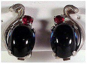 Trifari Sterling jelly belly cobalt & ruby earrings