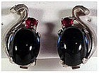 Trifari Sterling jelly belly cobalt & ruby earrings