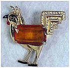 Coro rooster with large crystal stomach & enamel tail
