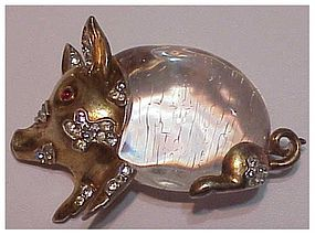 Trifari sterling 'Alfred Philippe' jelly belly pig pin