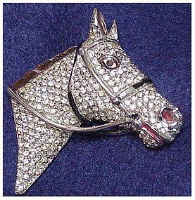 Coro (Script) Pave & enamel horse head pin