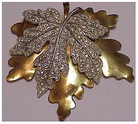 McClelland Barclay gold and pave silver maple leaf pin