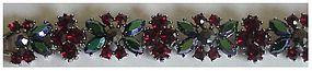 Trifari bracelet blue/green navettes,garnet red chatons