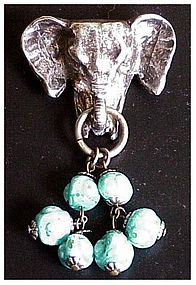 "Korda "" Jungle Book"" elephant head pin with beads"
