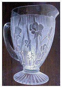 "Iris, Iris & Herringbone 9 1/2"" pitcher clear footed"