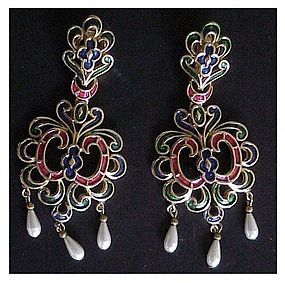 Trifari gold & metallic enamel scrolled crest earrings