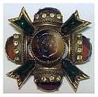 Florenza opaque intaglio watermellon Maltese Cross
