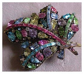 Hollycraft  multi color  rhinestone pin