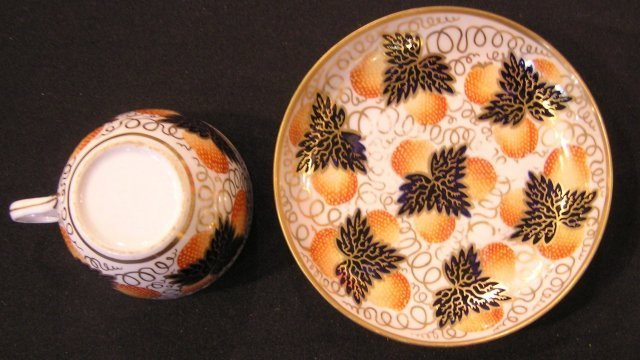 Newhall Porcelain Cup & Saucer with Strawberry Pattern