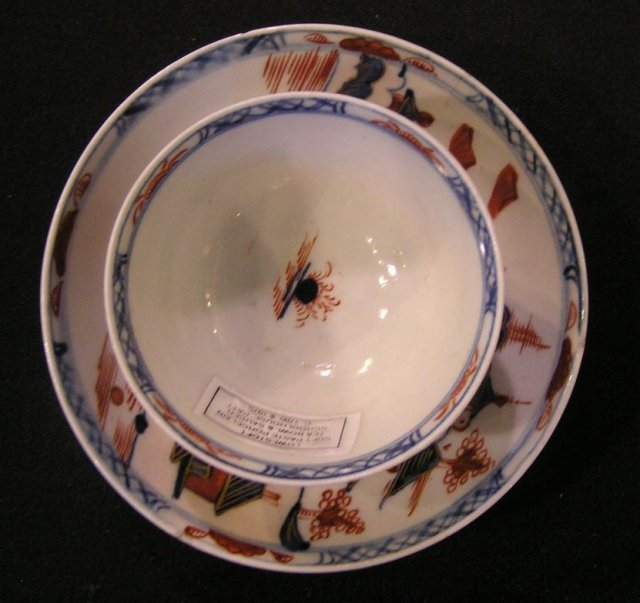 Lowestoft Teabowl and Saucer, Schoolhouse Pattern