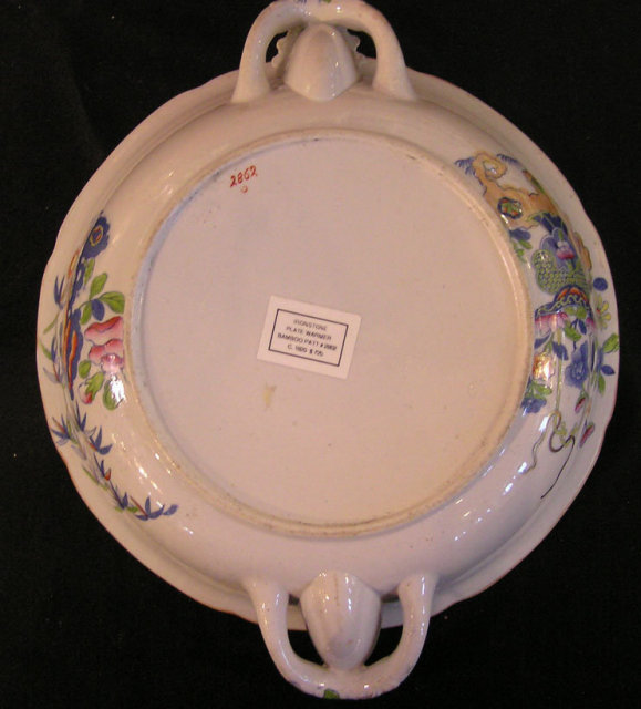 Ironstone Plate Warmer in Bamboo Pattern #2862