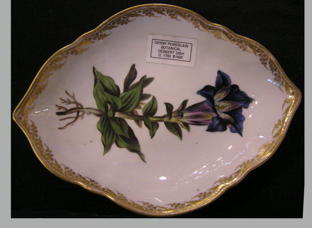 Derby Porcelain Botanical Triangular Dessert Dish