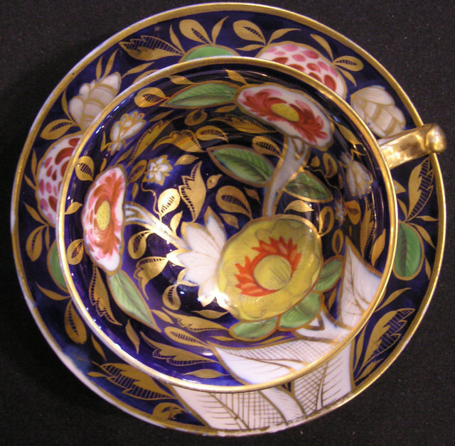 Coalport Cup & Saucer, Cobalt Ground, John Rose Factory