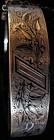 Victorian 14K gold bangle Bracelet, enamel decoaration
