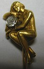18K gold Art Nouveau stickpin, naked lady with diamond